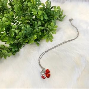 Jewelry - Silver Red Heart Shaped Four Leaf Clover Necklace